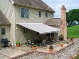 retractable awning covering a patio